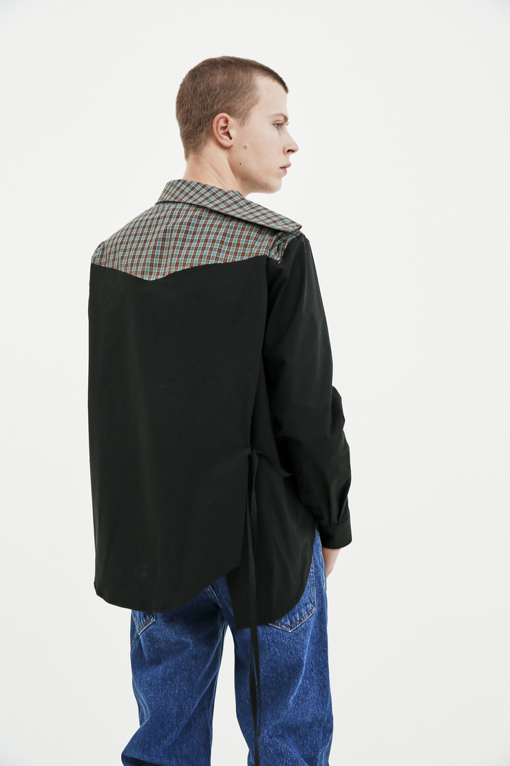 Raf Simons Black Shirt with Side Closure Peter Saville Joy Division Substance top ss18 spring summer 2018