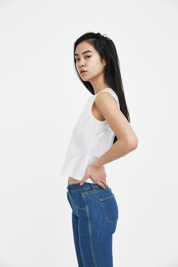 SAMUEL Gui YANG Pearl Rubber Top Sam Gee Translucent Spandex silicone ss18 spring summer 2018 white