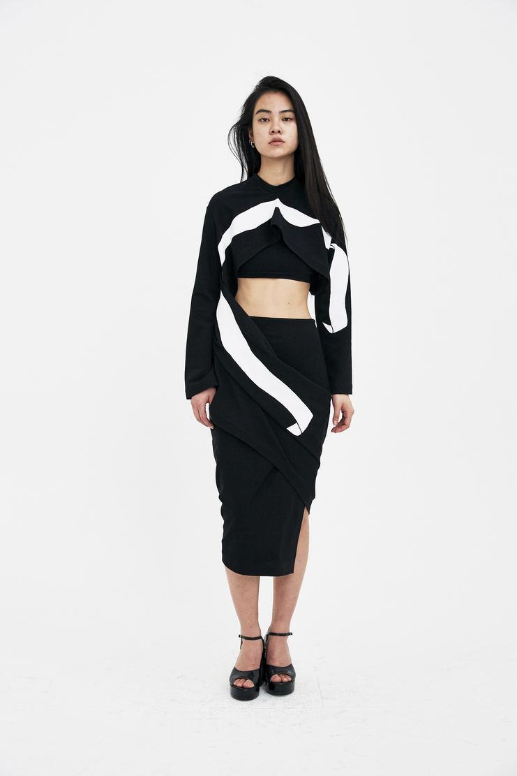 SAMUEL Gui YANG Wrap Dress black white long crop high rise draping ss18 spring summer 2018