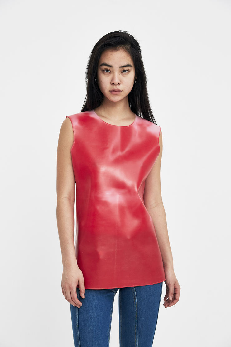 SAMUEL Gui YANG Rubber Tunic  Red colour changing Rubber Top Sam Gee Translucent Spandex silicone ss18 spring summer 2018 white
