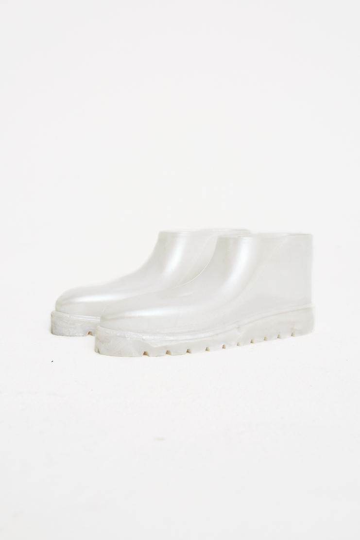 Samuel Gui Yang Pearl Rubber Shoes machine a new arrivals s/s 18 spring summer 2018 white block heel ankle boots showstudio