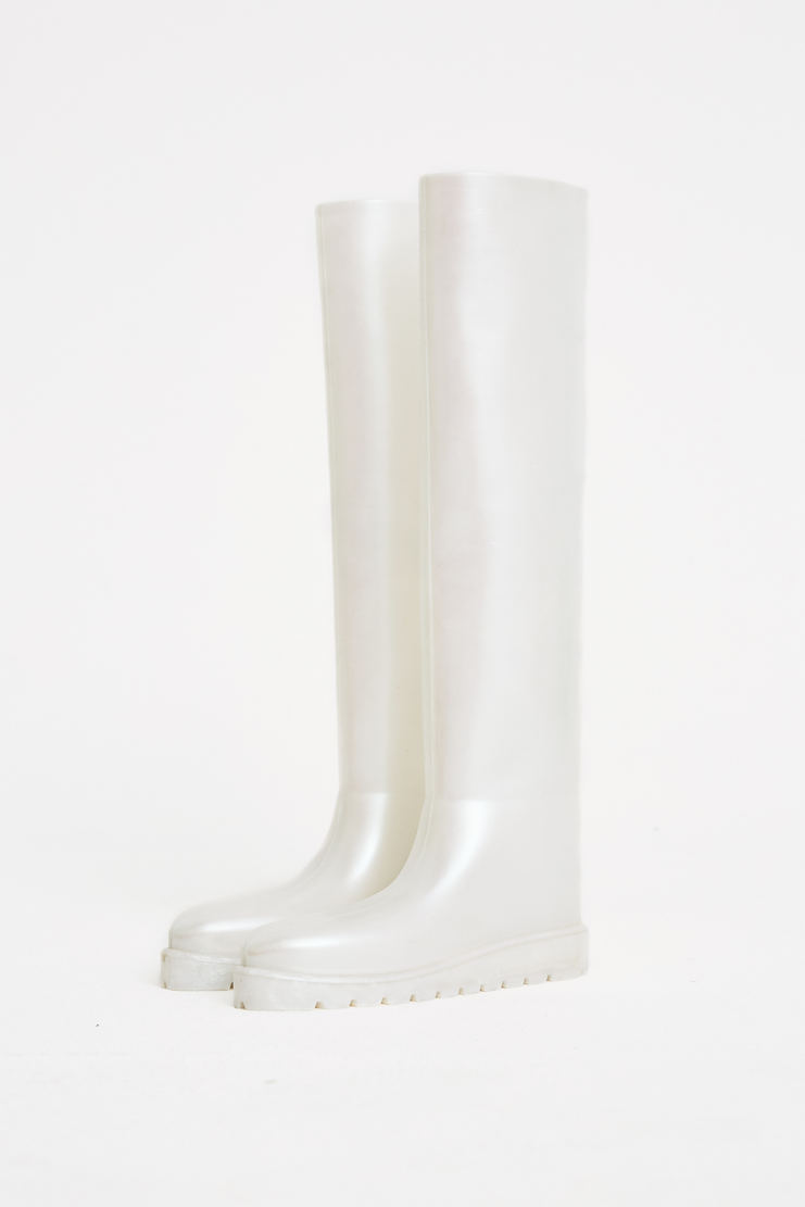 SAMUEL Gui YANG Pearl Rubber Knee High Boots white machine a show studio new arrivals spring summer S/S 18 2018