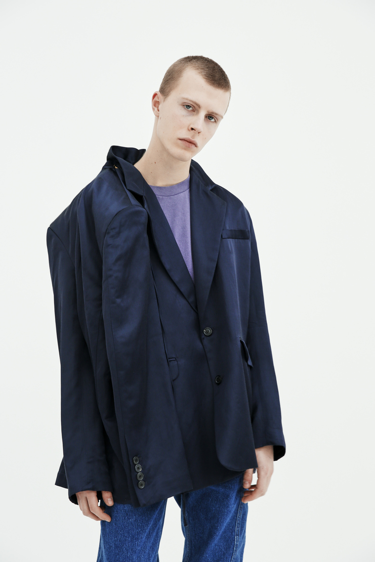 Y/Project Deconstructed Double Sleeved Blazer BLAZ11-S14 F23-S14 navy jacket satin shiny sleeves spring summer pre ss18 s/s 18 machine a glenn martens