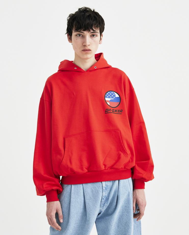 Gosha Rubchinskiy Red DJ Hooded Sweatshirt S/S 18 spring summer collection Machine A SHOWstudio G012T016 mens top hoodie jumper