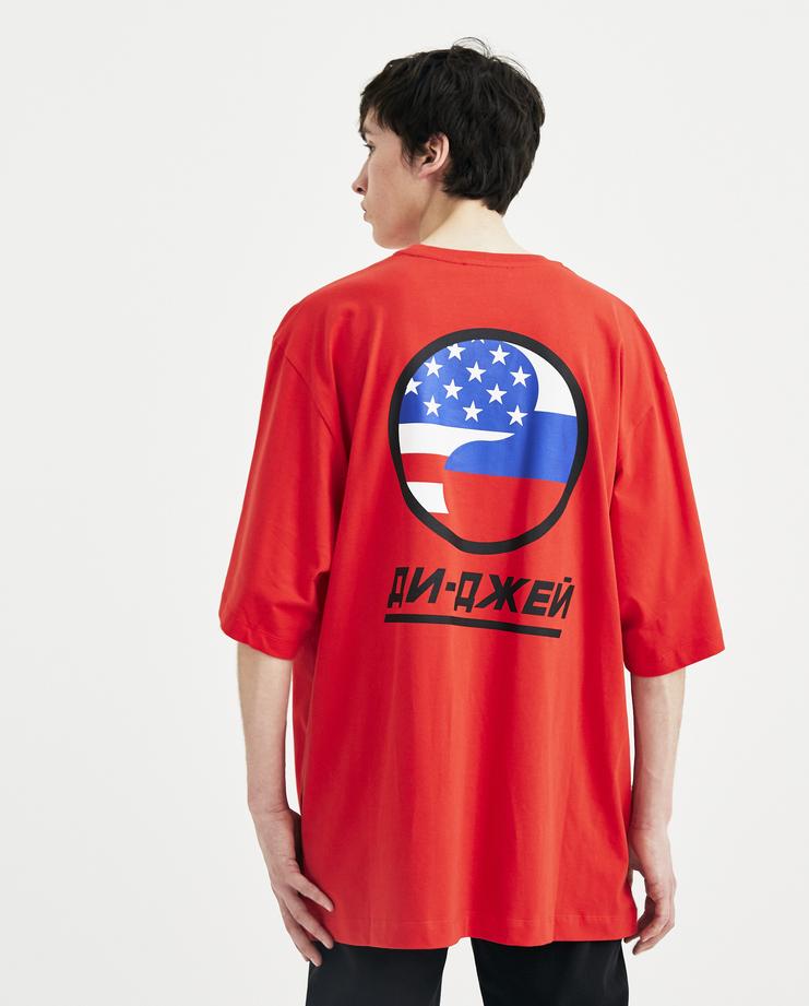 Gosha Rubchinskiy Red DJ Oversized T-shirt S/S 18 collection spring summer Machine A SHOWstudio mens G012T006 tops