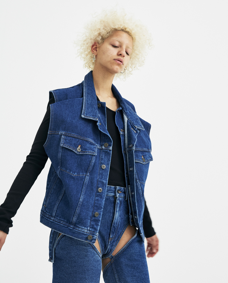 Y/Project Double Denim Vest WJACK3S/L-S14 womens S/S 18 spring summer collection Machine A SHOWstudio jackets coats blue y-project yproject y project