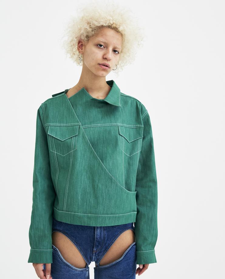 Marta Jakubowski Mika Denim Jacket green new in new arrivals machine a showstudio spring summer 2018 s/s 18 asymmetrical side slit