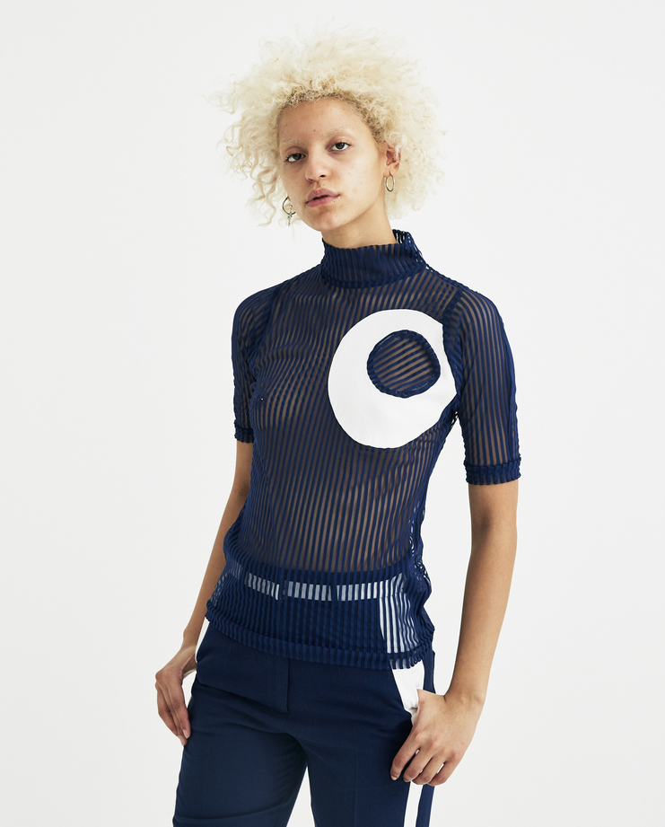 Richard Malone Navy Sheer Circle Top S/S 18 spring summer collection new arrivals Machine A SHOWstudio RMSSS18-SS03 womens t-shirt tops