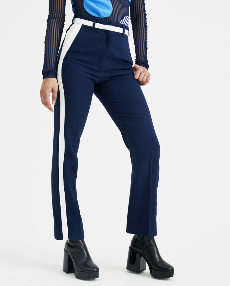 RMSSS18-HWL14 Richard Malone Skinny Tux Trousers  Machine a Showstudio new arrivals spring summer 2018 s/s 18 navy white stripe