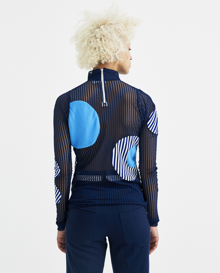 Richard Malone Blue Sheer Long Sleeve Top circles net new arrivals spring summer 2018 s/s 18 machine a showstudio
