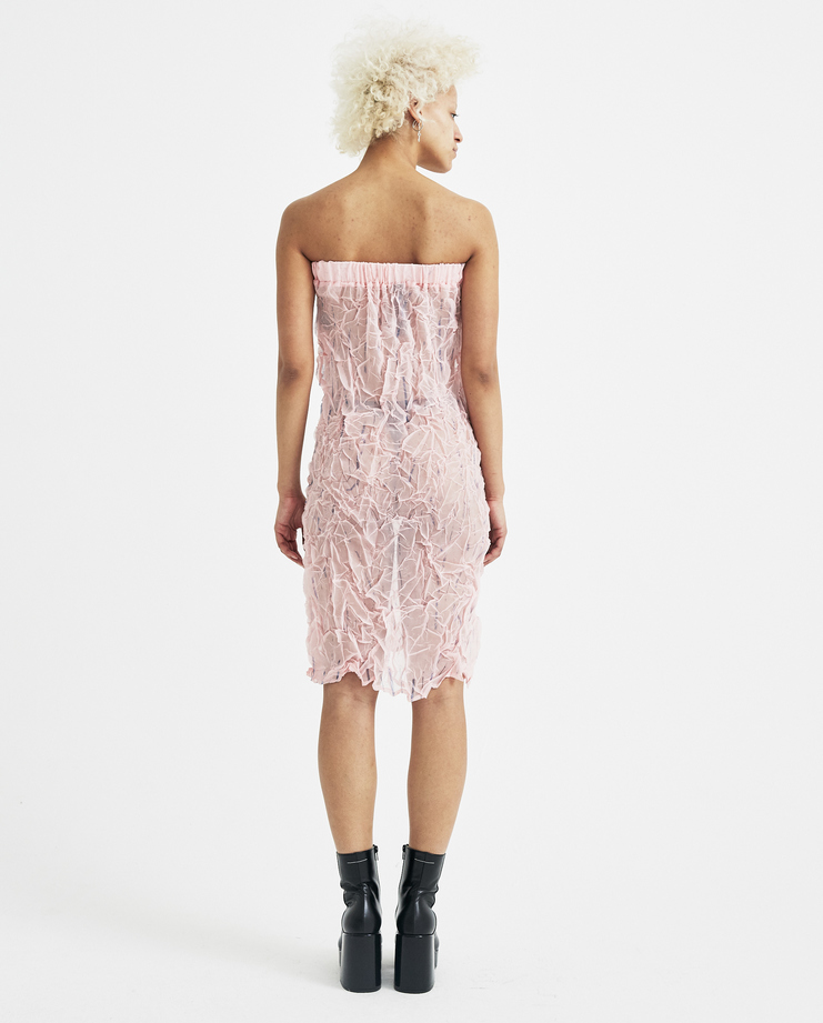 Ovelia Transtoto Pink Striped Off Dress Avelia Transtoto womens S/S 18 spring summer collection Machine A SHOWstudio SS18407-A2 dresses