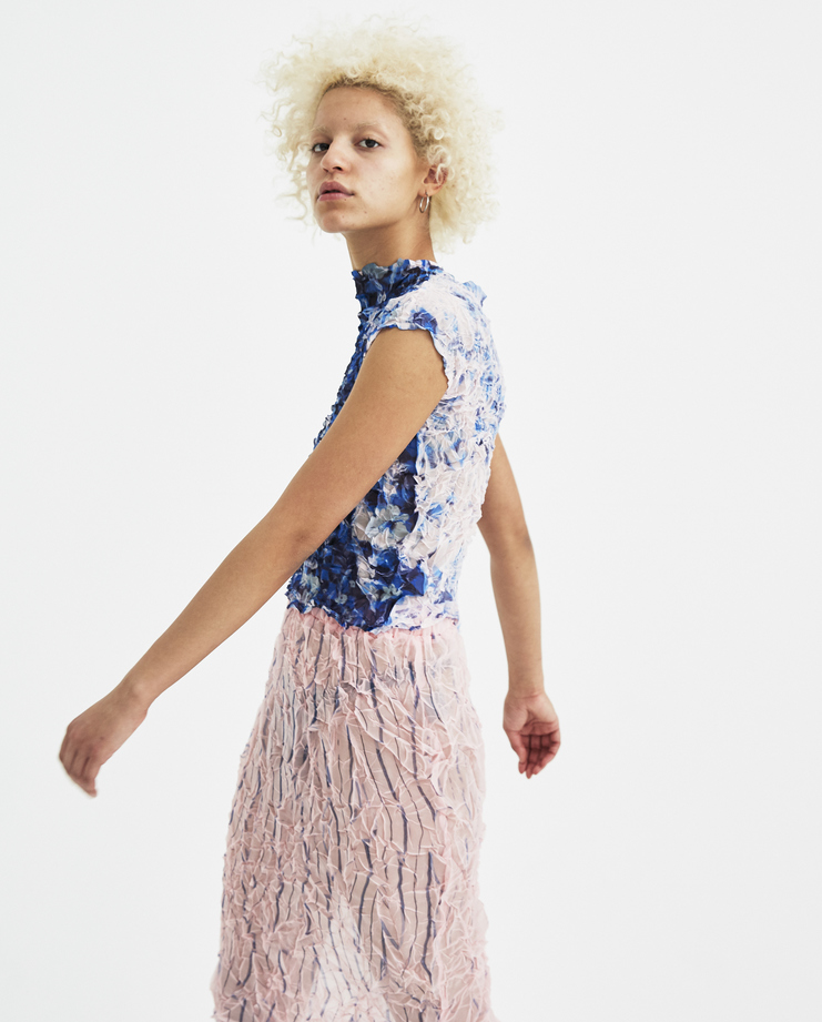 Ovelia Transtoto Pink Flower Turbulence Top SS18303-A3 Avelia Transtoto womens Machine A SHOWstudio S/S 18 spring summer collection tops