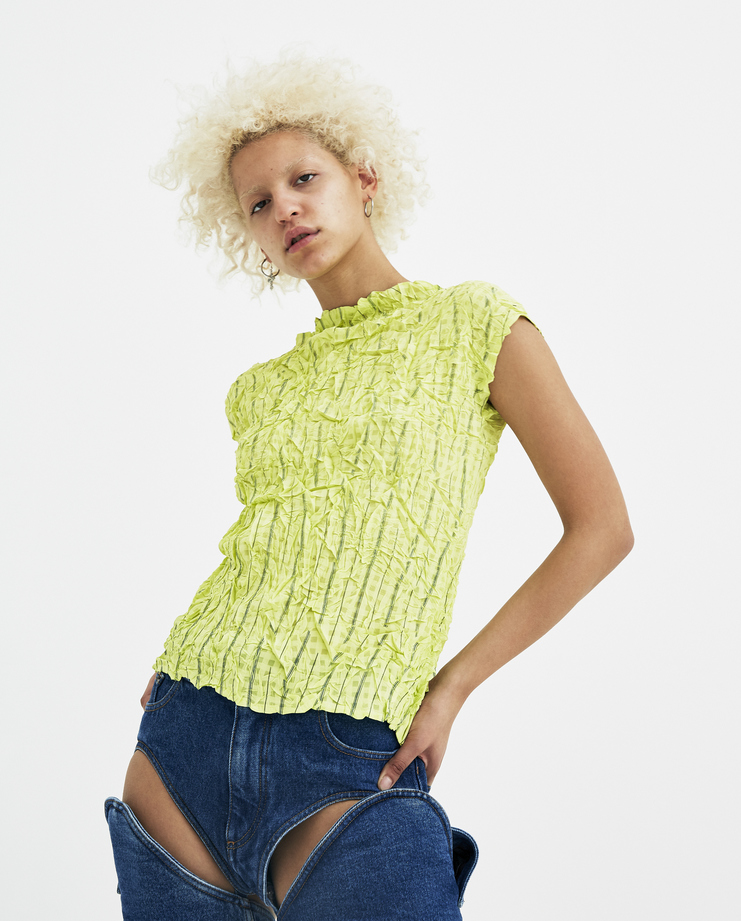 Ovelia Transtoto Yellow Striped Turbulence Top SS18303-B2 Avelia Transtoto womens Machine A SHOWstudio S/S 18 spring summer collection tops