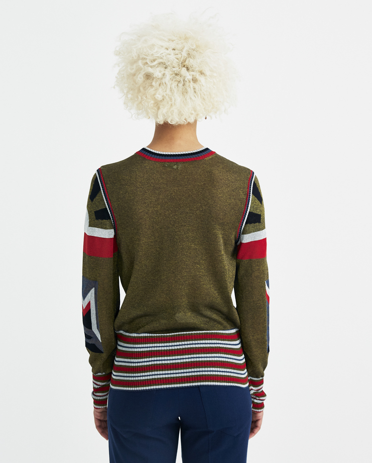 Sadie Williams Green Intarsia Jersey Top SS18KNIT05GRN new arrivals womens S/S 18 spring summer collection Machine A SHOWstudio long sleeves top