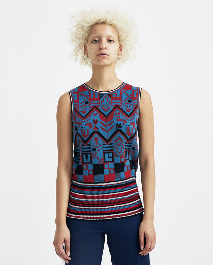 Sadie Williams Multi Colour Jacquard Sleeveless Top S/S 18 spring summer collection SS18KNIT02TRN new arrivals womens Machine A SHOWstudio tops