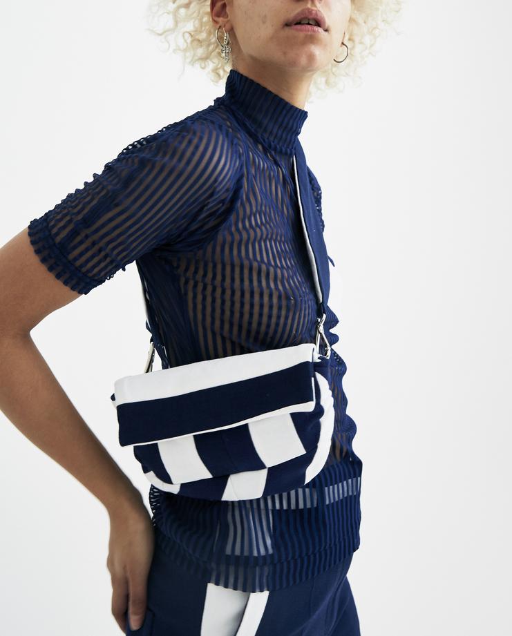 Richard Malone striped club bag navy blue white small purse flap clutch spring summer ss18 s/s 18 machine a showstudio