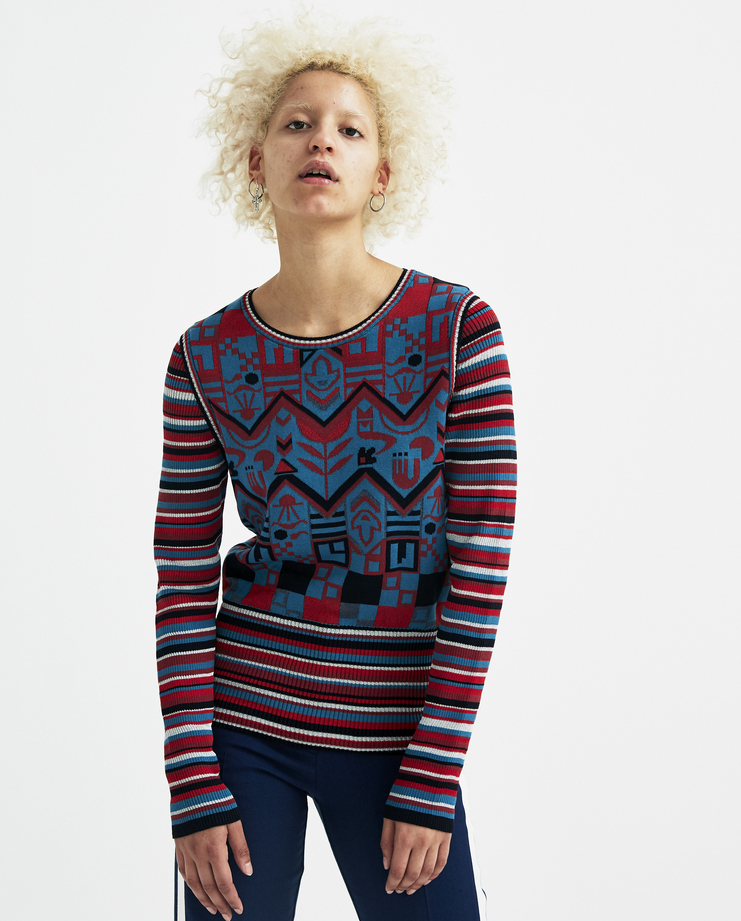 Sadie Williams Multi Colour Jacquard Long Sleeve Top SS18KNIT01WRN womens new arrivals S/S 18 spring summer collection Machine A SHOWstudio tops knit
