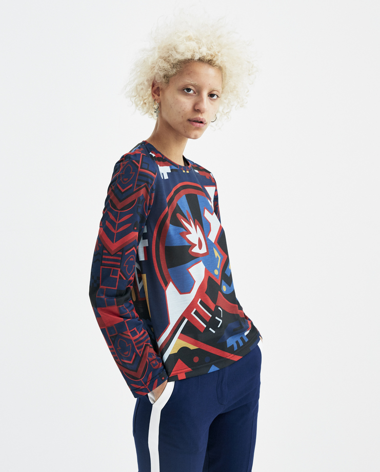 Sadie Williams Blue Digital Printed Long Sleeve Top SS18LSTS02 new arrivals womens S/S 18 spring summer collection Machine A SHOWstudio digital printing tops