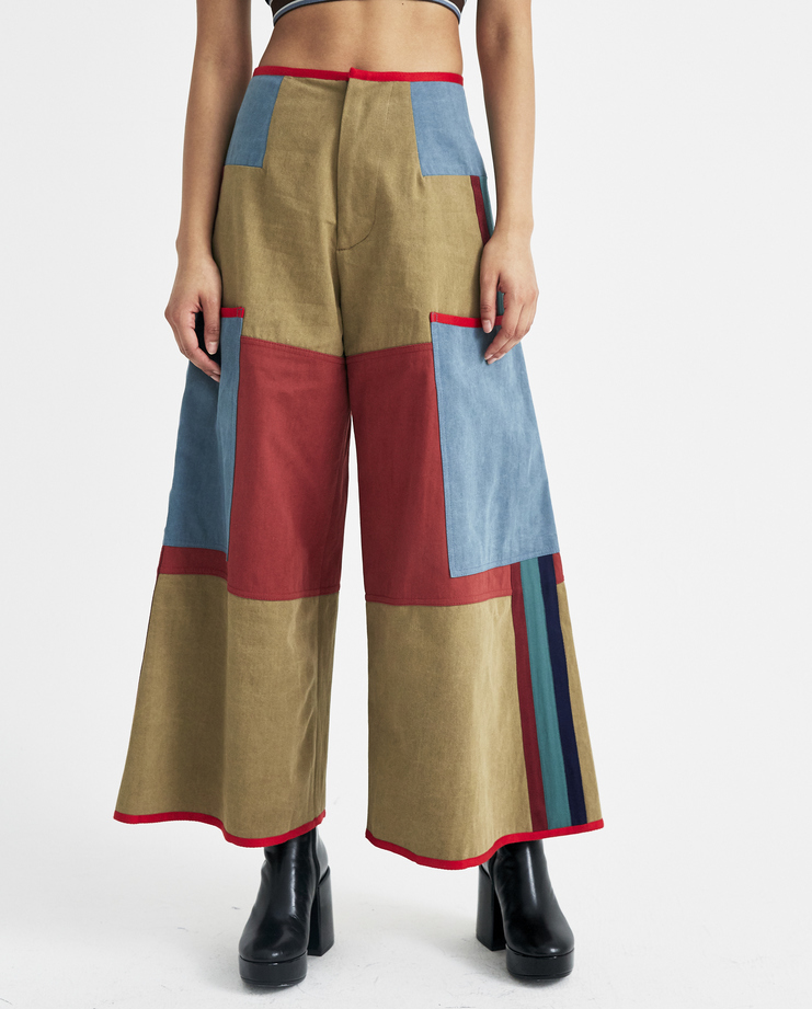 Sadie Williams Multi Colour Patched Denim Trousers SS18TRS01 womens new arrivals S/S 18 spring summer collection Machine A SHOWstudio pants jeans patch pockets