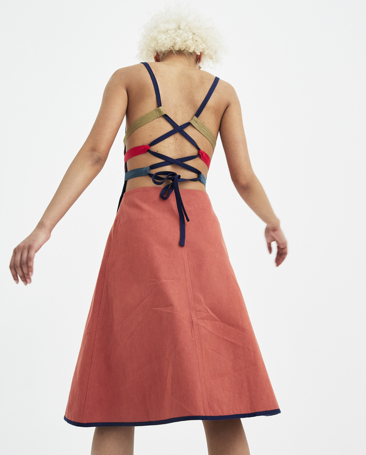 Sadie Williams Red Apron Dress with Straps SS18DRS01 womens new arrivals S/S 18 spring summer collection Machine A SHOWstudio backless dresses