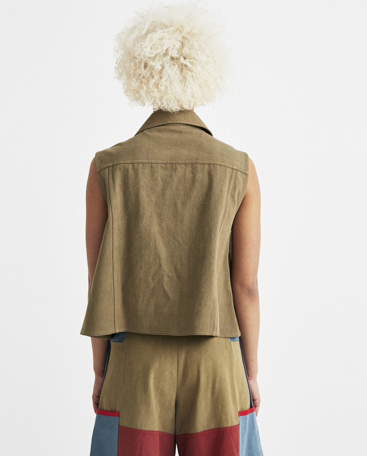 Sadie Williams Khaki Sleeveless Denim Jacket AA18JKT04G womens new arrivals S/S 18 spring summer collection Machine A SHOWstudio jeans vest jackets