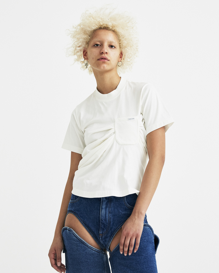 SIRLOIN White Bukko Ruched Top with Pocket Z030 new arrivals womens S/S 18 spring summer collection Machine A SHOWstudio t-shirt sirlion