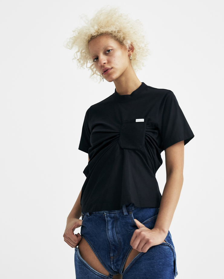 SIRLOIN Black Bukko Ruched Top with Pocket Z030 new arrivals womens S/S 18 spring summer collection Machine A SHOWstudio t-shirt sirlion