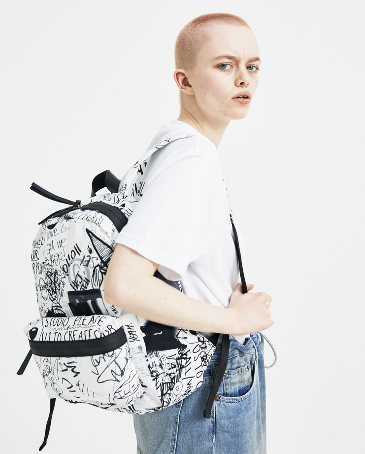 MM6 Scribble Drawings Print Backpack S41WA0013 new arrivals graffiti rucksack bag S/S 18 spring summer collection Machine A SHOWstudio