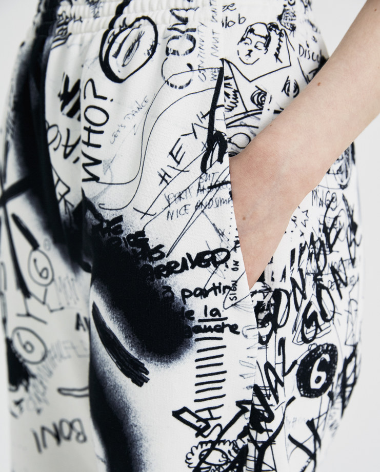 MM6 Scribble Drawings Print Joggers S32KA0517 new arrivals womens S/S 18 spring summer collection Machine A SHOWstudio trousers pants lounge pant