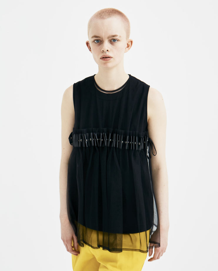 Noir Kei Ninomiya Black Ruched Sleeveless Top new arrivals 3A-T009-S18 S/S 18 spring summer collection Machine A SHOWstudio