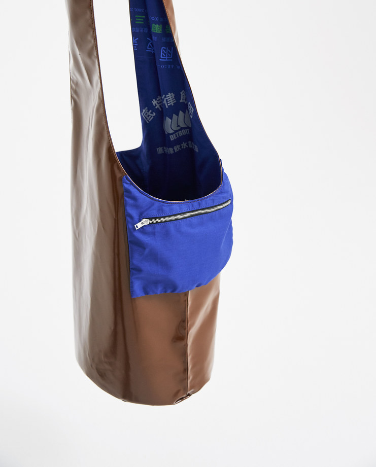Raf Simons Brown and Blue Twisted Bag 181-930-15010-00040 accessories new arrivals S/S 18 spring summer collection Machine A SHOWstudio bags