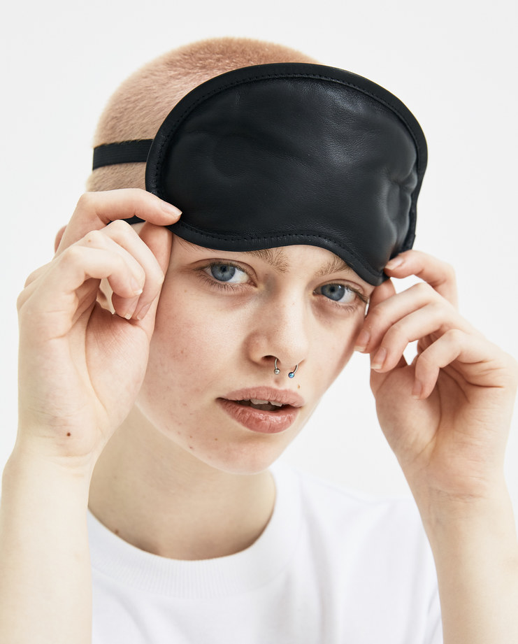 Maison Margiela Black Leather Eye Mask S61VT0019 new arrivals S/S 18 spring summer collection accessories travel Machine A SHOWstudio