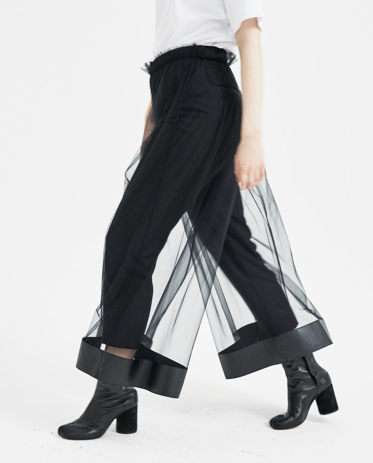 Noir Kei Ninomiya Black Tulle Layered Trousers new arrivals machine a showstudio s/s 18 spring summer 2018 3A-P006-S18 sheer skirt