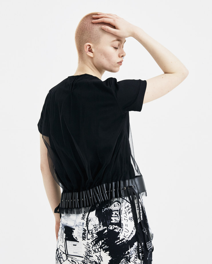 Noir Kei Ninomiya Black Tulle Net Tee new arrivals showstudio machine a spring summer 2018 s/s 18 3A-T008-S18 leather detailing