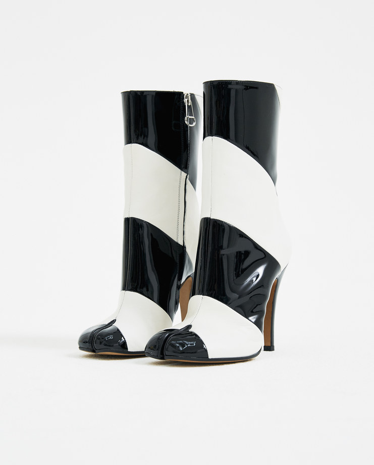 Maison Margiela Black Tabi Striped Ankle Boots S58WU0179 black and white heeled boots new arrivals S/S 18 spring summer collection Machine A SHOWstudio womens shoes