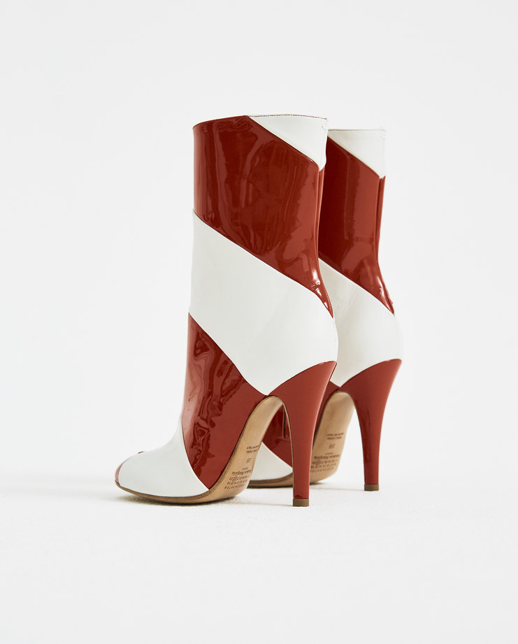 Maison Margiela Tabi Striped Ankle Boots S58WU0179 red heeled boots new arrivals S/S 18 spring summer collection Machine A SHOWstudio womens shoes