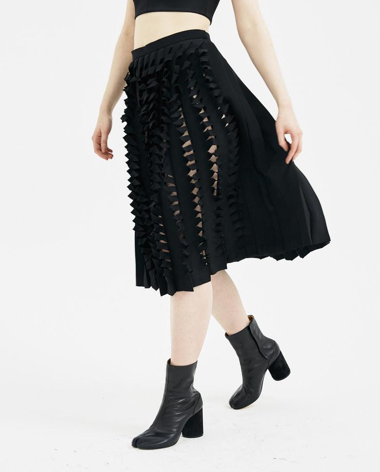 Maison Margiela Black Laser Cut Skirt S29MA0349 new arrivals skirts womens S/S 18 spring summer collection Machine A SHOWstudio midi skirt