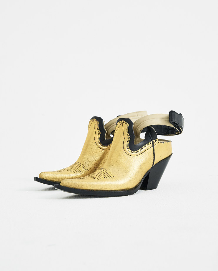 Maison Margiela Gold Cut Out Texan Boots S39WP0052 ankle boots sandals SS18 spring summer collection Machine A Machine-A SHOWstudio