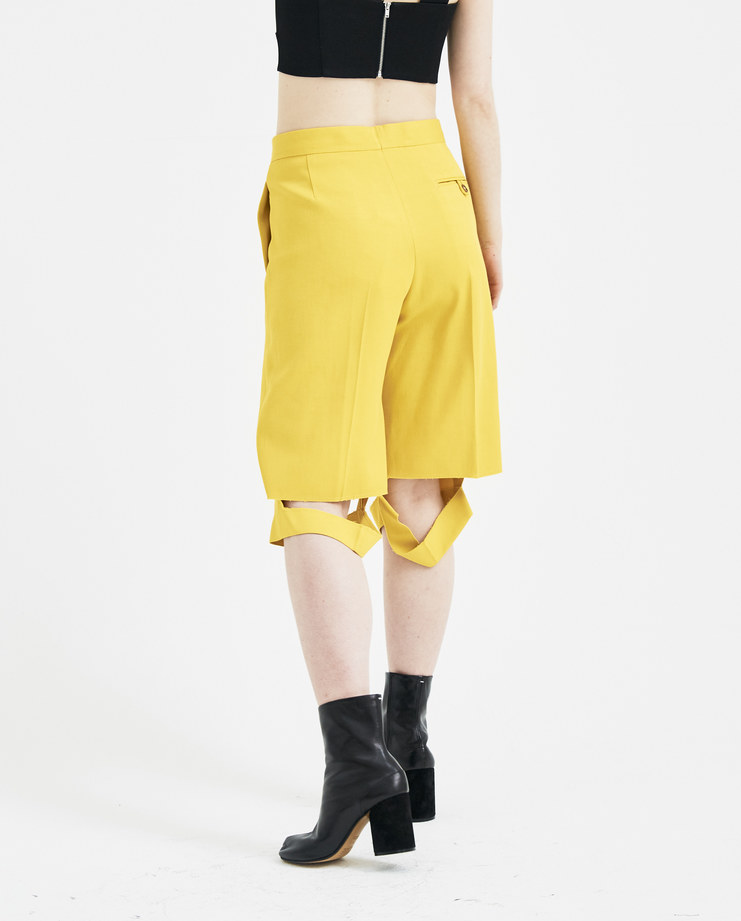 Maison Margiela Yellow Side Striped Shorts S51MU0022 new arrivals womens S/S 18 spring summer collection Machine A SHOWstudio short trousers