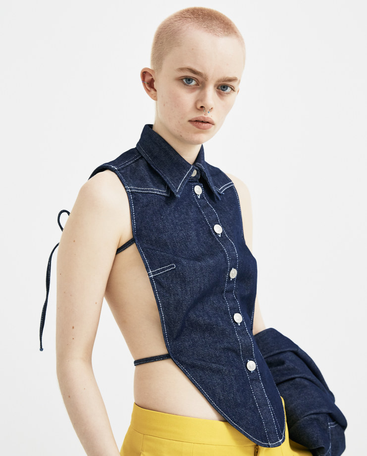 MM6 Bibbed Denim Short Dress S32NC0535 new arrivals dresses womens Machine A SHOWstudio S/S 18 spring summer collection