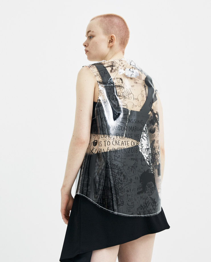 MM6 Transparent Scribble Drawings Sleeveless Top S32NC0541 new arrivals S/S 18 spring summer collection Machine A SHOWstudio womens tops