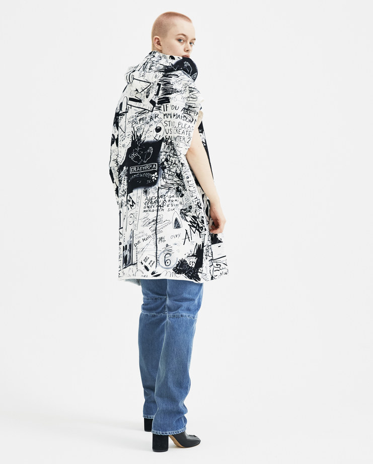 MM6 Scribble Drawings Hooded Sweatshirt Dress S32CT0985 new arrivals S/S 18 spring summer collection Machine A SHOWstudio womens