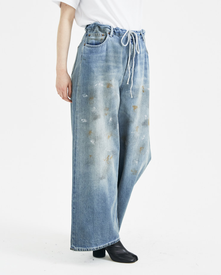 MM6 Dirt Effect Palazzo Trousers S32LA0145 womens new arrivals S/S 18 spring summer collection Machine A SHOWstudio trouser wide leg pants