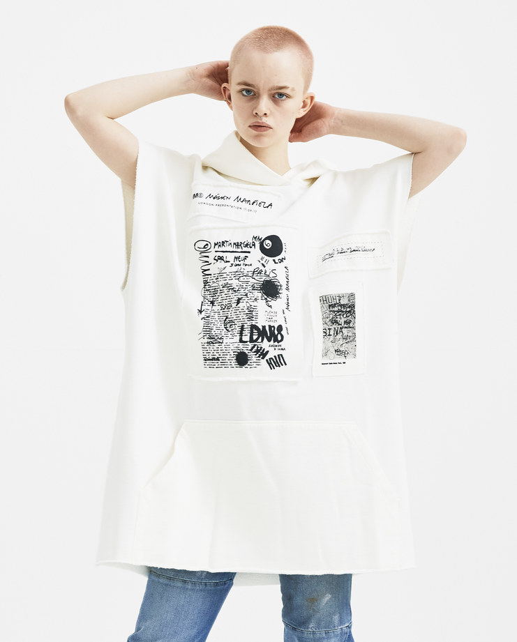 MM6 Scribble Drawings Patch Hooded Dress S32CT0985 new arrivals S/S 18 spring summer collection Machine A SHOWstudio womens