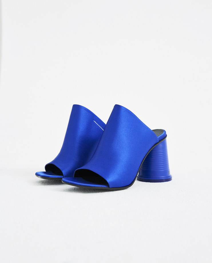 MM6 Blue Satin Cup To Go Sandals S40WP0108 new arrivals S/S 18 spring summer collection shoes heels Machine A SHOWstudio womens