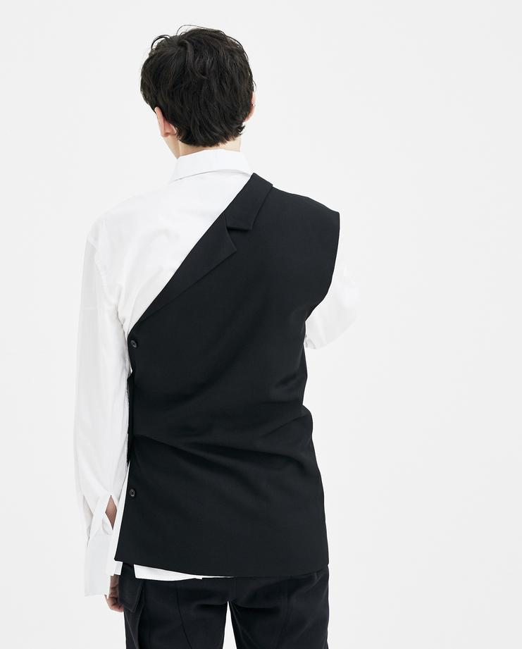 Raf Simons black Asymmetrical Vest Shirt top simon raf simon Machine-A SHOWstudio S/S 18 spring summer collection mens deconstructed shirt