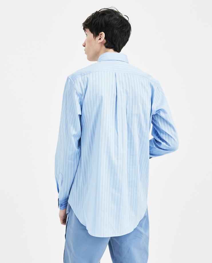 Martine Rose Blue Striped Wrap Shirt SS18305 new arrivals mens S/S 18 spring summer collection Machine A SHOWstudio oversized shirts