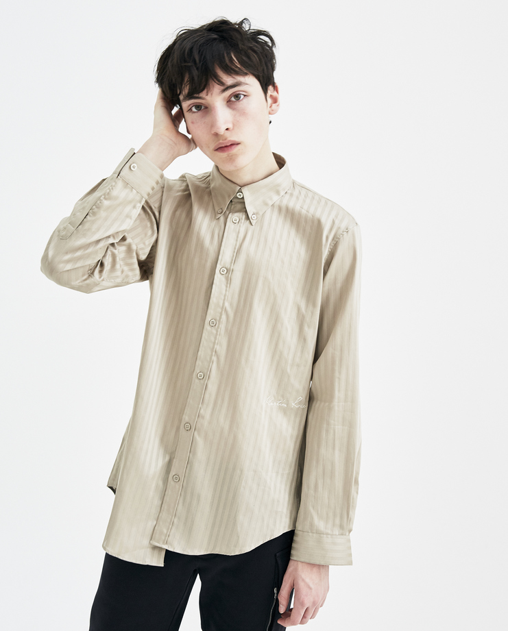 Martine Rose Sand Striped Wrap Shirt SS18305 new arrivals mens S/S 18 spring summer collection Machine A SHOWstudio oversized shirts