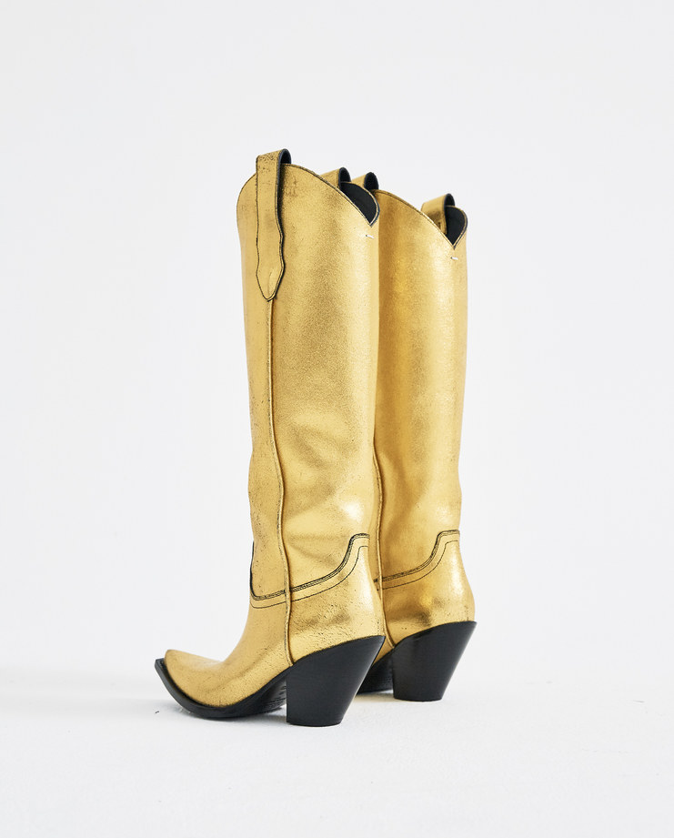 Maison Margiela Gold High Texas Boots S39WW0030 S/S 18 spring summer collection Machine A SHOWstudio boots mexas