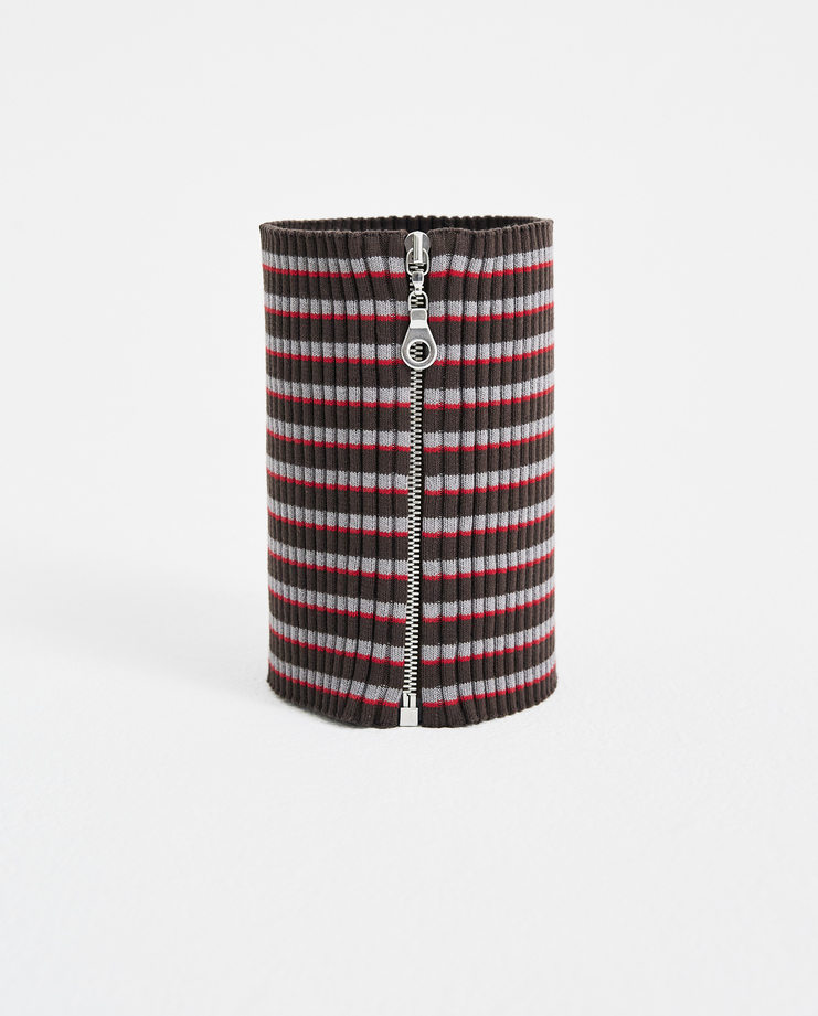 Maison Margiela Brown Striped Neckband  Machine a showstudio new arrivals mens brown grey red  zip up s/s 18 spring summer 2018 S30TE0140